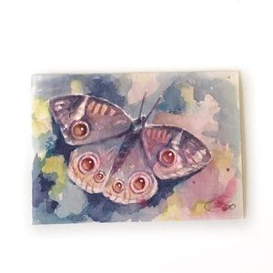 ACEO Original Painting Butterfly jewel Art USA